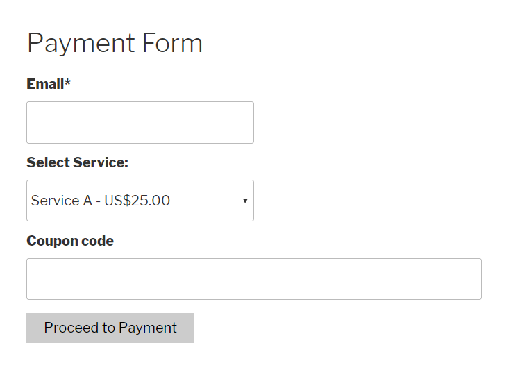 payment form with coupon discounts