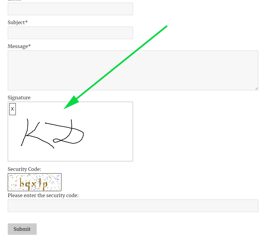 signature on contact form