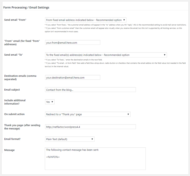 Form Processing/Email Settings